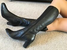 Clarks Black Leather  Knee High Boots Size 8 EUR 42 US 10.5  Wide Fit Boxed