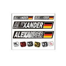 """Alexander"" Auto Fahrrad Motorrad Kart Helm Fahrername Aufkleber Sticker Flagge"