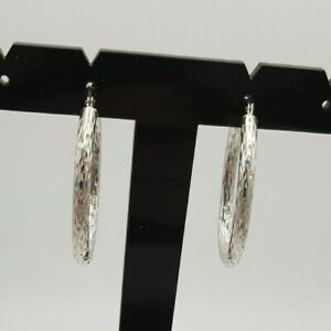 White 9ct Gold Hallmarked Hoop Textured large Earrings 2.1g
