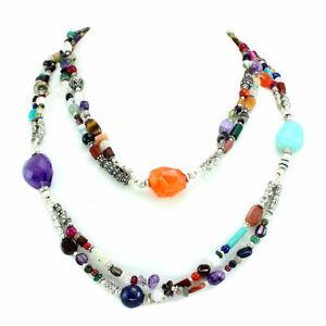 Necklace natural amethyst rose quartz aquamarine carnelian multi gemstone beaded