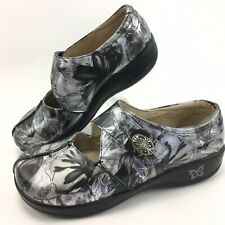 Alegria Shoes Size 41 Kai Black Patina Silver Black Print Leather Mary Jane Clog
