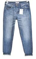 Hollister BOYFRIEND Tapered Medium Blue Distressed Crop Jeans Size 10 W26
