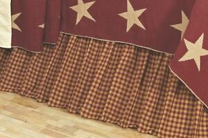 BURGUNDY TAN CHECK Twin Queen King BEDSKIRT : COUNTRY RED RUFFLE BED SKIRT