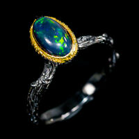 Black Opal Ring Silver 925 Sterling Beauty Rainbow9x5mm Size 8 /R131199