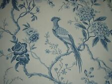 """SANDERSON CURTAIN FABRIC DESIGN """"Pillemont Toile"""" 4 METRES IVORY/CHINA BLUE"""