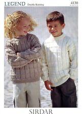 "Sirdar Legend DK Knitting Pattern 4130 Sweater for Baby, Children 22-30"" 1-10yrs"