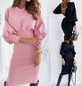 Womens Ladies Warm Dress Elastic sexy Long Plus size Loose Maxi Wrap Dresses