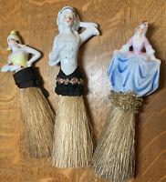Vintage Half Doll Porcelain Brushes (3)