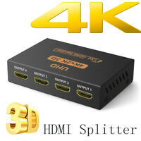 Ultra HD 4K 4 Port HDMI Splitter 1x2 1x4 Repeater Amplifier 1080P 3D 1 in 4 out