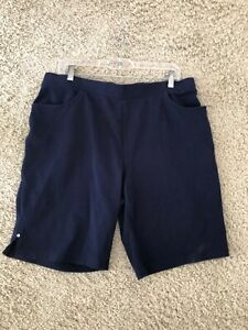 CHICO'S WeekEnds PULL-ON Navy blue SHORTS~size 2 = 12  14 L  rhinestone
