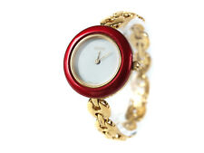 Auth GUCCI 11/12.2 Gold Plated Bangle Women's Watch GW11654L