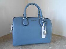 New MICHAEL KORS Studio MERCER Pebble Leather Medium Duffle $298 DENIM BLUE