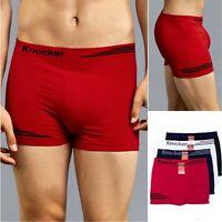 6 Pack Men's PLAIN Microfiber Seamless Stretchy Boxer Briefs Underwear MS007M