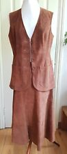 vintage  1970's brown suede waistcoat skirt suit festival boho hippy small