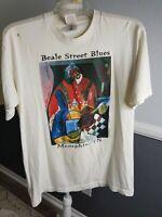 Vintage 90s Beale Street Memphis Blues T-Shirt Size Large Art George Hunt L40