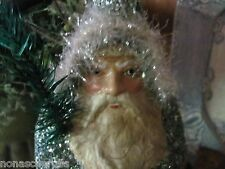 Antique Blue German Repro Father Christmas Santa Belsnickle,Real Feather Tree