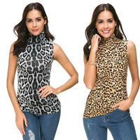 Women Sleeveless Leopard Printed Slim Fit Turtleneck Tee Shirt Tank Tops Blouse