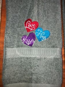 Embroidered Gray Hand Towel  Valentine's Day Hearts Love Hugs Kisses