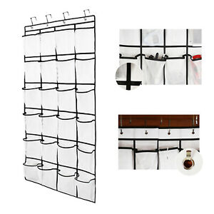 Hanging Shoes Organizer Rack 24 Large Mesh Pockets Clear Fabric Storage