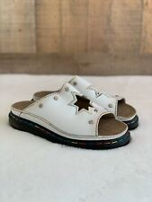 DR.MARTENS Sz 6 White Leather Sandle Rainbow Stitches Slip-on Star Cut-Out