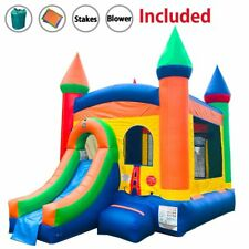 Rainbow Castle Moonwalk Wet/Dry Slide Bounce House Combo Inflatable With Blower