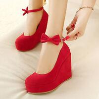 New Women Ladies Ankle Bow-Knot Strap Platform Pumps Round Toe Wedge Bride Shoes
