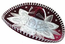 Youth Mexican Mariachi Hat Sombrero Charro Cinco de Mayo Burgundy Silver