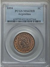 1894 Argentina 1 Centavo, PCGS MS 62, Red and Brown, Scarce Date