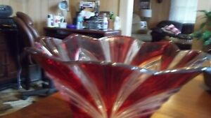Fifth Avenue Crystal and red glass bowl