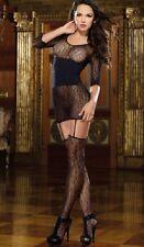 Señoras Lingerie Ropa Interior Sexy De Encaje Negro chemise/dress Ligueros De Encaje De Siembra