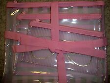 Victorias Secret Pink Makeup Clear Cosmetic Beach 3 Piece Bag Set NWT Striped