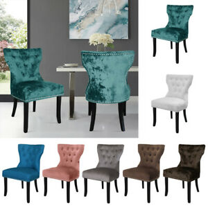 Set of 2 Dining Chairs Padded Seat Wood Legs Cushion Seat Stud Kitchen Cafe Bar