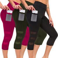 Women Sports Mesh Capri YOGA Pants Workout Gym Fitness Gym 3/4 Leggings Athletic