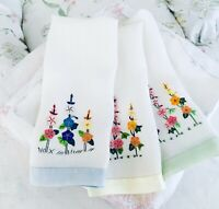 Vintage Linen Tea Towels Set of 3 Hand Stitched with Flowers Blue, Green &Yellow