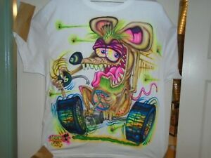 Johnny Ace Original  Art Air Brushed T-SHIRT Ed Roth Stanley Mouse  Rat Fink