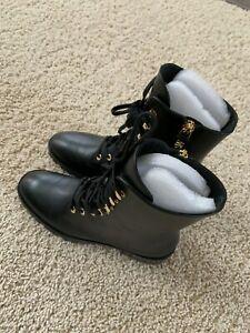 Stuart Weitzman Norrie Leather Combat Booties (New in box)