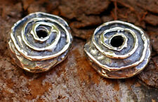 Two Spiral Bead Caps in Sterling Silver 56s
