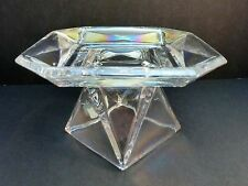 PARTYLITE DISCOVER IRIDESCENT CLEAR GLASS PEDESTAL PILLAR CANDLE HOLDER STAND