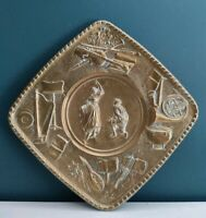 Vintage Square Brass Wall Plaque Dancing Couple Music Instruments Design