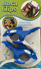 O2Cool Boca Clips,1 Pair Sharks Towel holders for Pool Lounge Chair and more