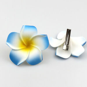 "10Pcs Hawaiian Foam Plumeria Flowers Hair Clip Hair Accessory-2.3"""