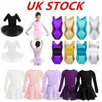 UK Girls Ballet Dance Dress Kids Gym Shiny Leotard Tutu Skirts Costume Dancewear