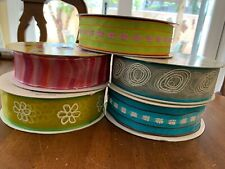 """Lot Of 5 Wire Edged Ribbon Spools Spring Colors; 1-1/2"""" wide - Kirkland"""