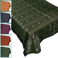 "Rectangular Vintage Silk Tablecloth Cover Small Gold Elephants Stripes 40 60 80"""