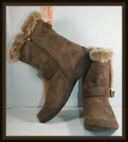 Western Chief Sand Winter Snow Boots Suede Leather Faux Fur Womens 8