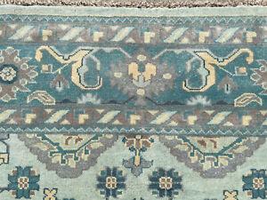 9x12 BLUE WOOL HANDMADE RUG HAND-KNOTTED handwoven oriental big carpet turkish