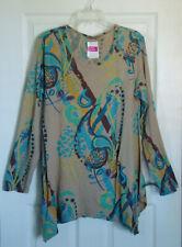 FRESH PRODUCE NWT Womens LS Print TOP Sz XL- Handerchief Hem Tan Blue Multi Knit