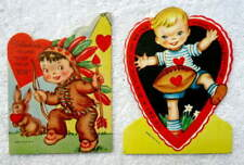 Two Vintage Die Cut Valentines Boy Dressed As Indian Boy Playing Football #E4