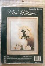 Elsa Williams ColorArt Crewel Embroidery Kit Pastel Roses White Flowers OOP New