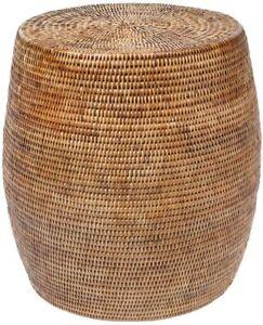 KOUBOO La Jolla Round Rattan Storage Coffee Table, Honey-Brown